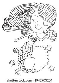 Cute mermaid girl. Vector illustration. Cute little mermaid girl with tortoise, sea shells and star fish.