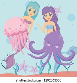 Cute mermaid icon