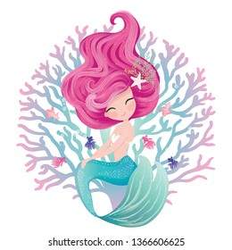 Cute mermaid illustration  with fishes, concept kids print, hand drawn, vector illustration, greeting and invitation cards.