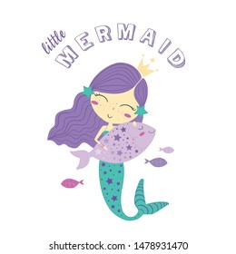cute mermaid illustration vector graphic design for kids t