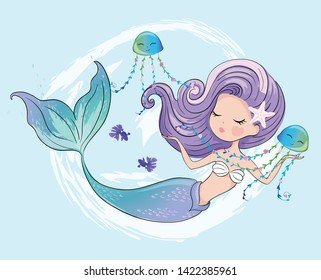 Cute mermaid with jelly fishes vector illustration,kids fashion artworks, greeting, birthday and invitation cards, children prints.