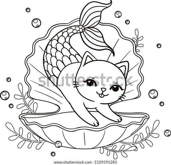 Cute Mermaid Kitten Seashell Vector Outline Stock Vector Royalty Free 1529591285