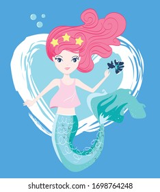 Cute mermaid with little fish vector illustration for kids fashion artworks, children books, greeting cards.