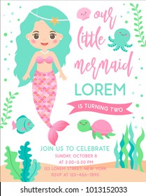 Cute mermaid and marine life illustration for birthday party card template
