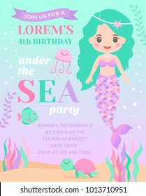 Cute mermaid and marine life illustration for birthday invitation card template