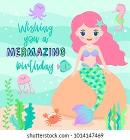 Cute mermaid and marine life illustration for birthday greeting card design