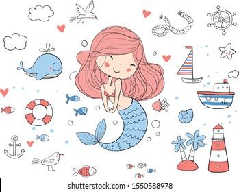 Cute mermaid. Marine set. Whale, starfish, anchor, fish, gull.