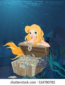 Cute Mermaid over a treasure chest under the sea