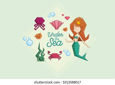 cute mermaid redhead accompanied by a set of cute marine characters on green background. Polygonal illustration. mermaid, octopus, crab, water bubble, oyster snail