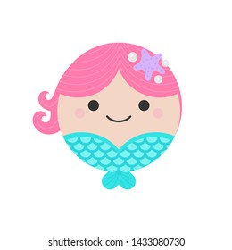 Cute mermaid round graphic vector icon. Little mermaid with pink hair and blue tail. Fairytale creature, magical character or mythical creature head, face illustration. Isolated.