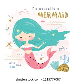 cute mermaid and sea life cartoon