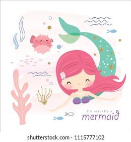 cute mermaid and sea life cartoon