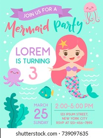Cute mermaid and sea life cartoon for party invitation card template