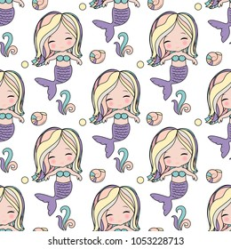 Cute mermaid seamless pattern  for print on clothes,cases, textile, paper.