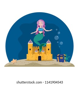 cute mermaid under water with castle and coffer