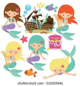 Cute mermaid vector cartoon illustration
