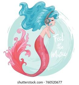 cute mermaid vector design.