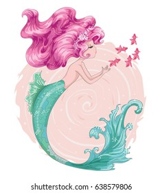 Cute mermaid vector design.Template for design cards, notebook, shop, poster.