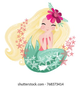 Cute Mermaid Vector. Fashion graphics, book illustrations, greeting card.