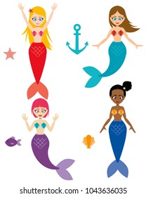 Cute mermaids with anchor, starfish, fish, and scallop.