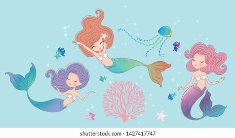 Cute mermaids clipart vector illustration