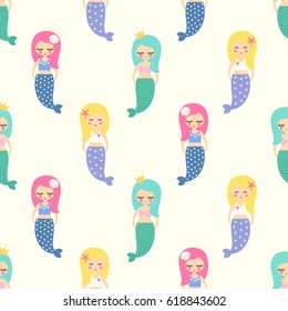 Cute mermaids girls with colorful hairs seamless pattern on white background. Vector sea background for kids. Child drawing style cartoon underwater illustration. Design for fabric, textile, decor.