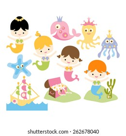 Cute mermaids and sea animals vector.