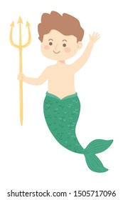 Cute Merman or Male Mermaid green fin holding trident fantasy character cartoon character design isolated on white background vector illustration.