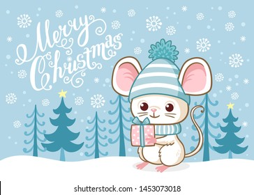 Cute Merry Christmas card with a cute little mouse standing on the snow among the blue forest. Vector Christmas illustration on a winter theme in cartoon style.