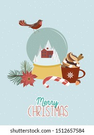 Cute Merry Christmas card with Snow globe, candy, bird, red mug with sweet drink and christmas floral. Editable Vector Illustration.