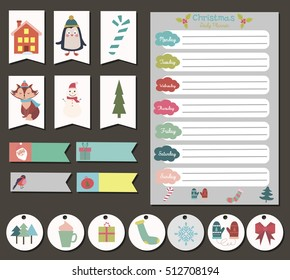 Cute Merry Christmas Daily Calendar and To Do List Template. Note Paper and Stickers Set with Vector Christmas Illustrations.