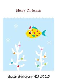 cute merry christmas fish vector card