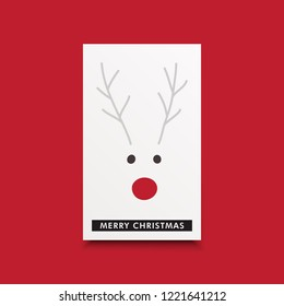 Cute merry christmas gift card with a red nose reindeer character.