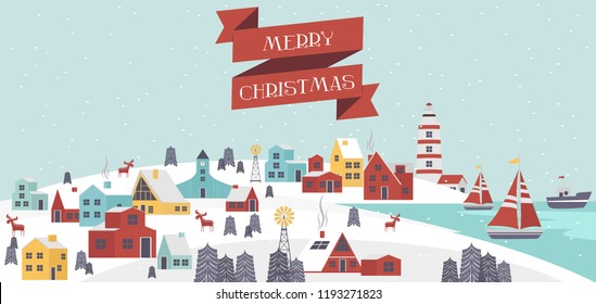 Cute Merry Christmas greeting card with winter landscape and houses in the Scandinavian style. Editable vector illustration