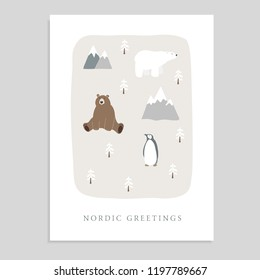 Cute Merry Christmas greeting card, invitation with bear, polar bear, penguin, fir trees and mountains. Hand drawn kids nordic design. Vector illustration background.