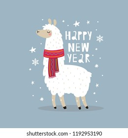 Cute Merry Christmas and Happy New Year print with Alpaca. Cartoon character Alpaca