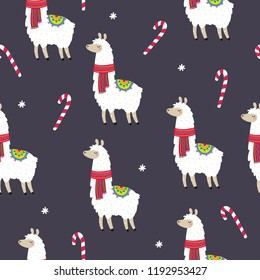 Cute Merry Christmas and Happy New Year print with Alpaca. Cartoon character Alpaca. Seamless pattern