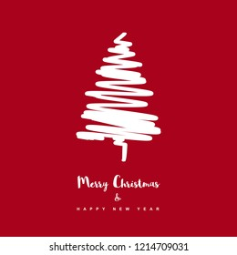 Cute Merry Christmas and Happy New Year Vector Card. White Abstarct Christmas Tree and Letters Below. Deep Red Background. Simple Modern Design.