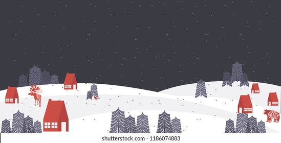 Cute Merry Christmas horisontal background with winter landscape and elements in the Scandinavian style. Editable vector illustration