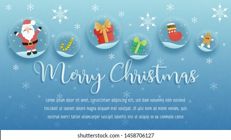 Cute Merry Christmas vector. Design in blue background with various Christmas decorations. Aim used for wallpaper, background, banner, and printing.