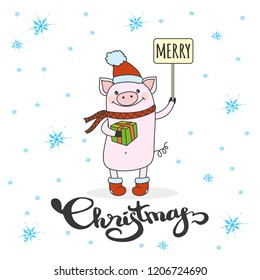 Cute Merry Christmas winter card with pig in hat and scarf,funny pork symbol of 2019 year, vector illustration