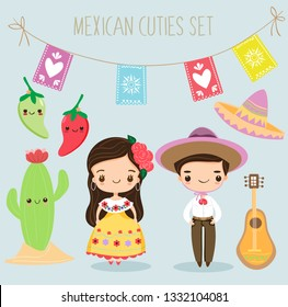 cute mexican boy and girl with elements cartoon, vector isolated with background