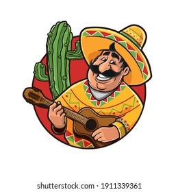 cute mexican cartoon logo mascot