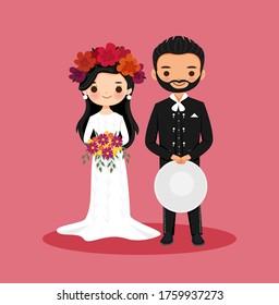 cute Mexican couple cartoon for Fiesta Wedding invitation card design