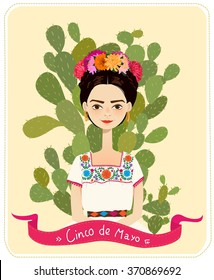 Cute Mexican girl in an ancient dress. Cactus in the background. Text Fifth of May. Vector illustration.
