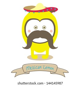 Cute Mexican Lemon with sombrero and mustache. Cartoon character isolated on a white background. Stock vector illustration for t-shirt print, game card, logo of your products, poster, stickers