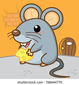 Cute mice holding cheese