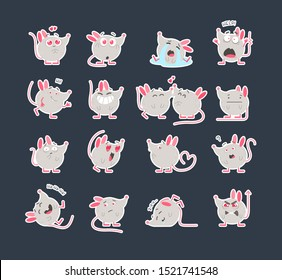 Cute mice stickers flat vector illustrations set. Creative social media emoji pack. Various cartoon emoticons collection. Kawaii rats with different expressions. Funny 2020 year mascots