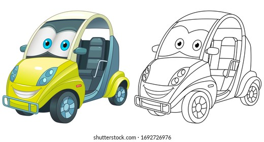 Cute mini car with emoji face. Coloring page and colorful clipart character. Cartoon design for t shirt print, icon, logo, label, patch or sticker. Vector illustration.