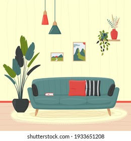 Cute minimalistic interior. Blue sofa with pillows and book. Home plants and decorative elements. Cozy living room flat vector illustration. Trendy scandinavian hygge interior.